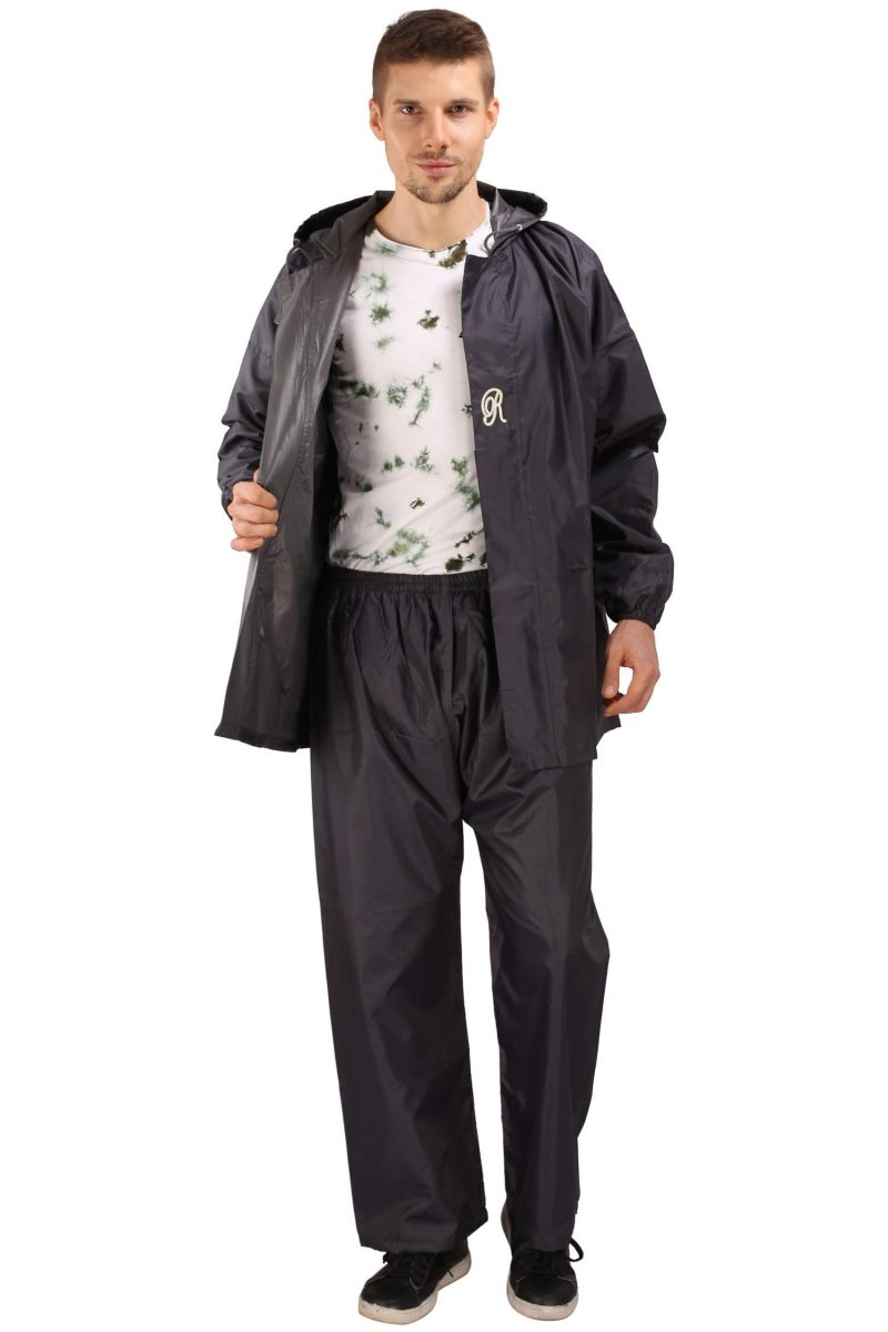 Buy Real Rainwear Grey Reflected Back Strip,matching Pvc Lining With Inner Pockets For Men's-rrpogy online