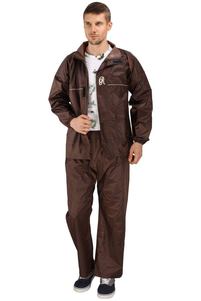Buy Real Rainwear Brown Nylon Rainsuit With Simples Design For Men's-rrskbr online