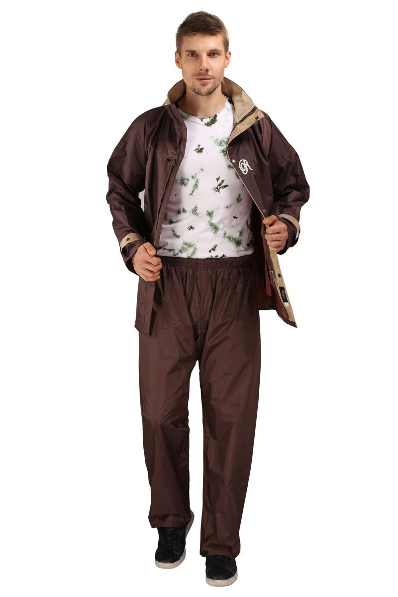 Buy Real Rainwear Brown Nylon Lining Raincoat For Men's-rrspbr online