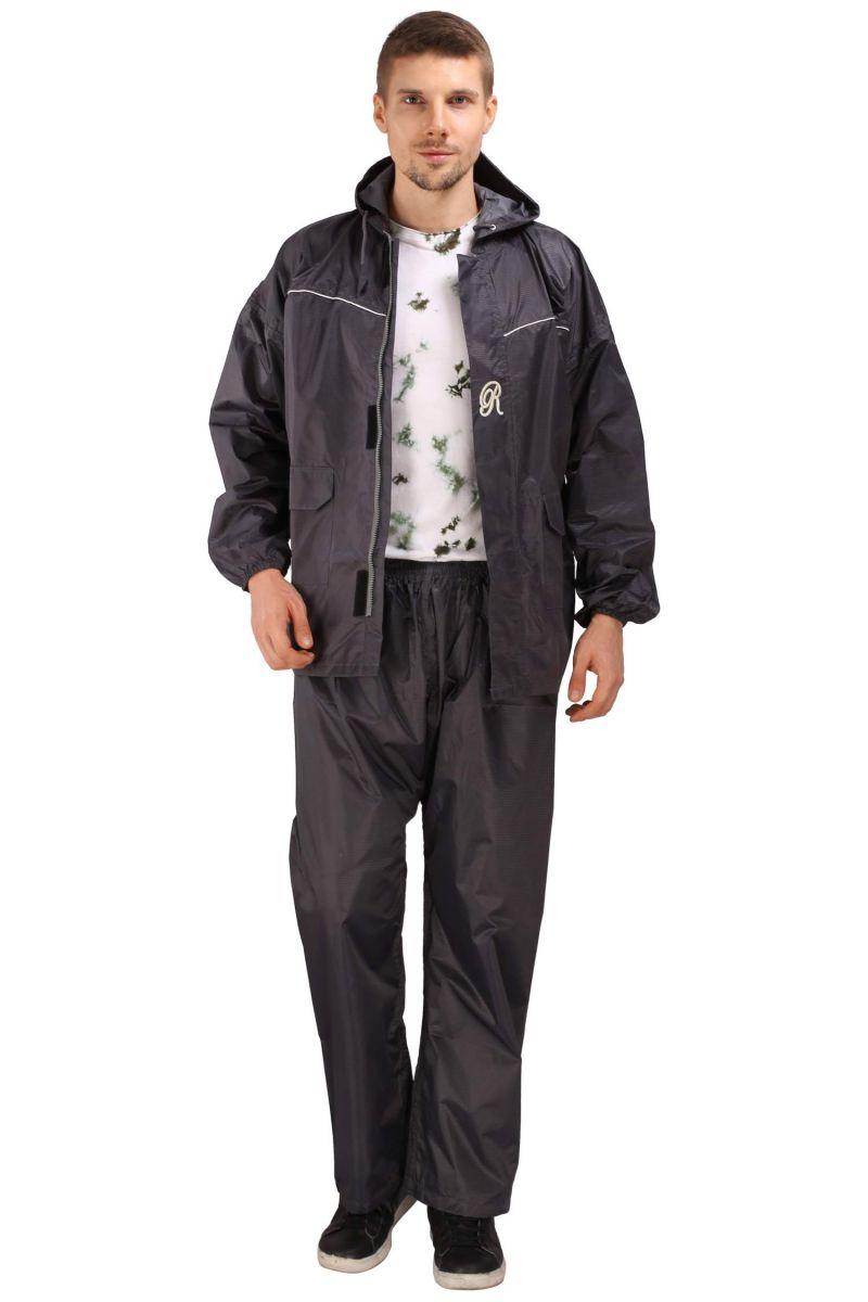 Buy Real Rainwear Grey Nylon Rainsuit With Checks Fabric For Men's-rrutgy online