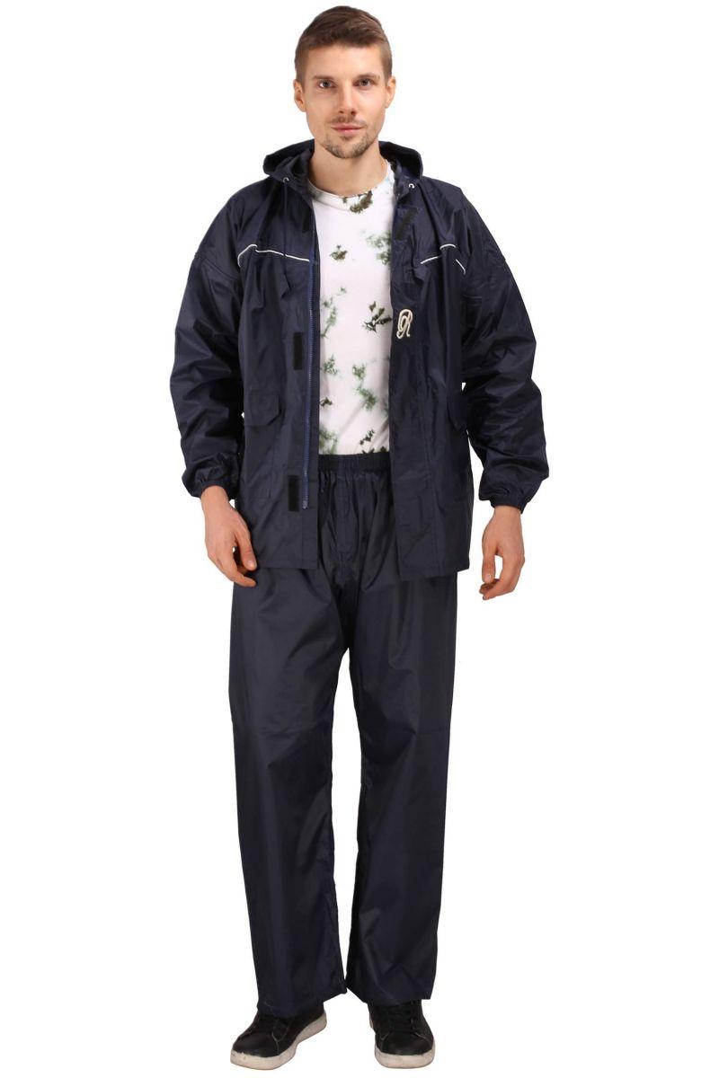 Buy Real Rainwear Navy Blue Nylon Rainsuit With Checks Fabric For Men's-rrutnb online