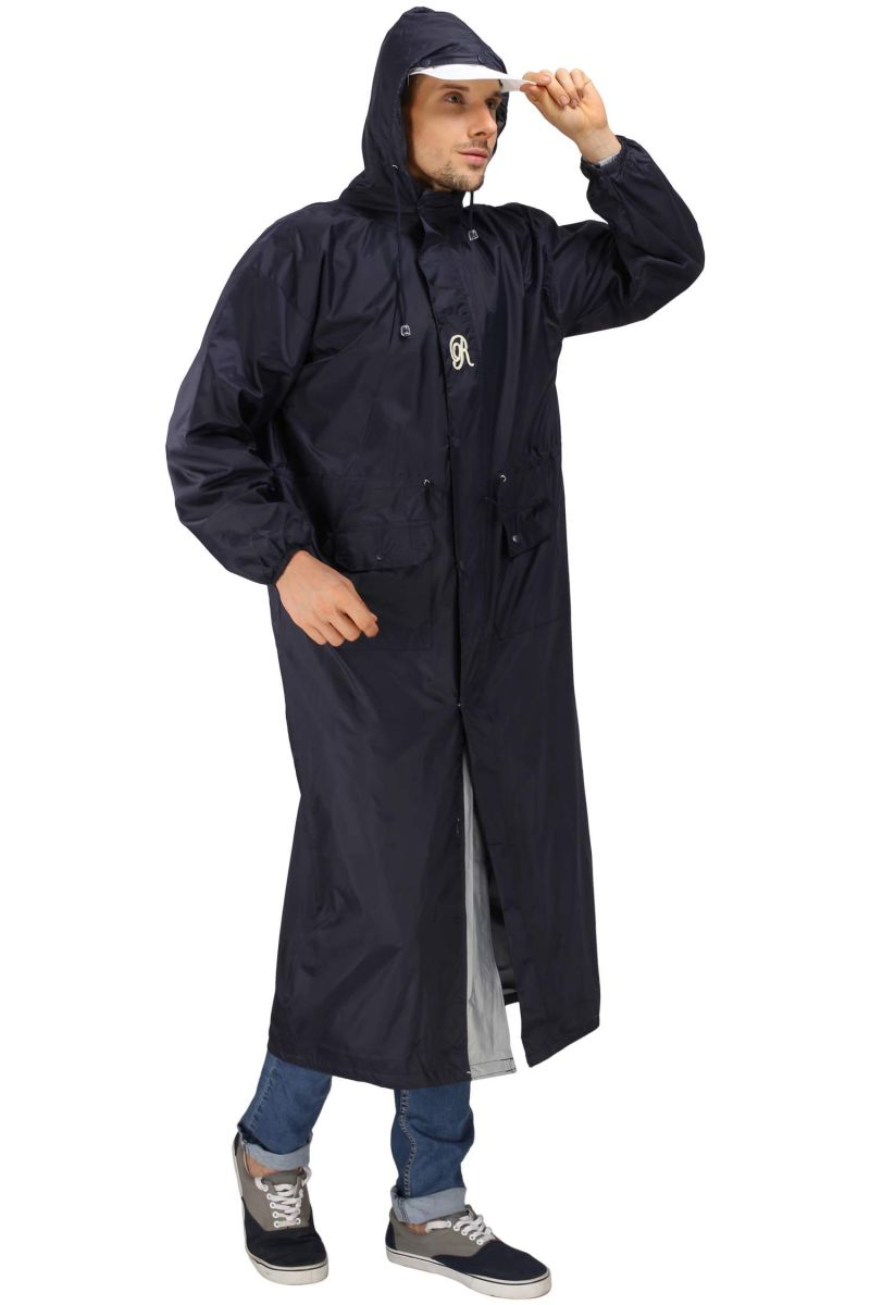 Buy Real Rainwear Nylon And Pvc Solid Scooter Coat For Men - Navy Blue-topprsnblusxxl online