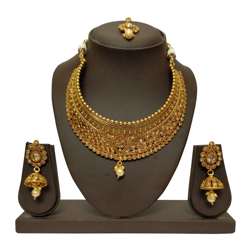 Buy Jharjhar Gold Traditional Necklace Set online
