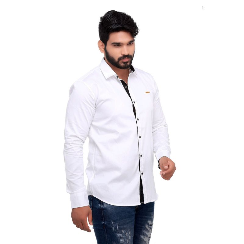 Buy White Club Slim Fit Men's Casuals Shirt From Rollerfashions online