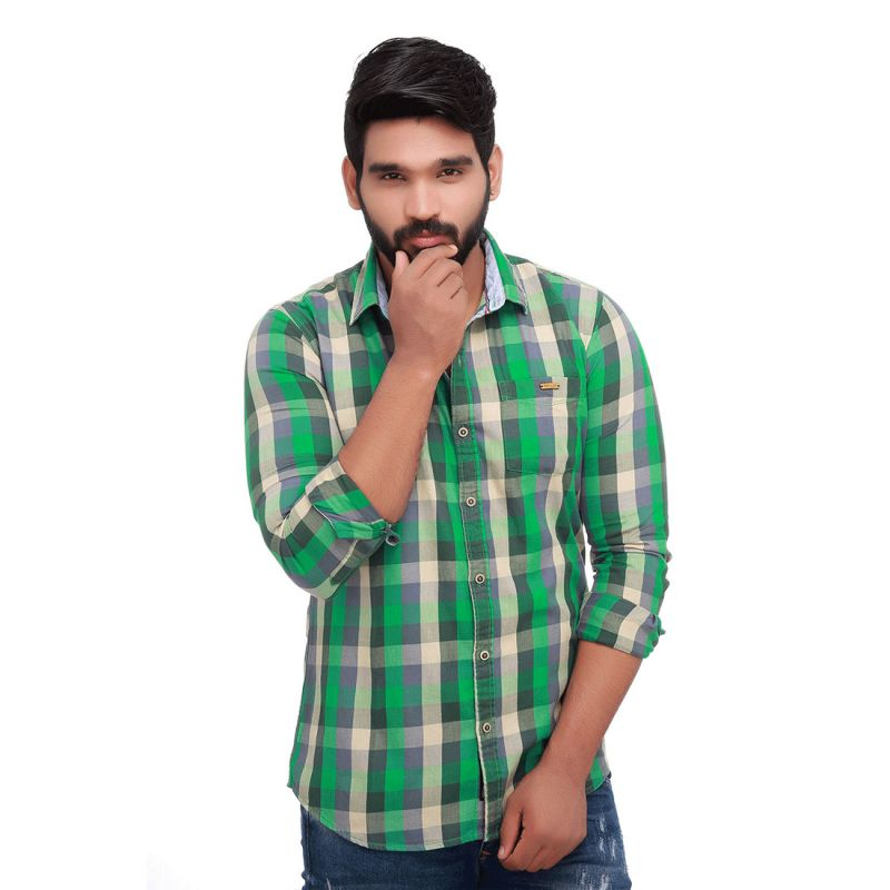Buy Green Twill Checked Slim Fit Men's Casuals Shirt From Rollerfashions online