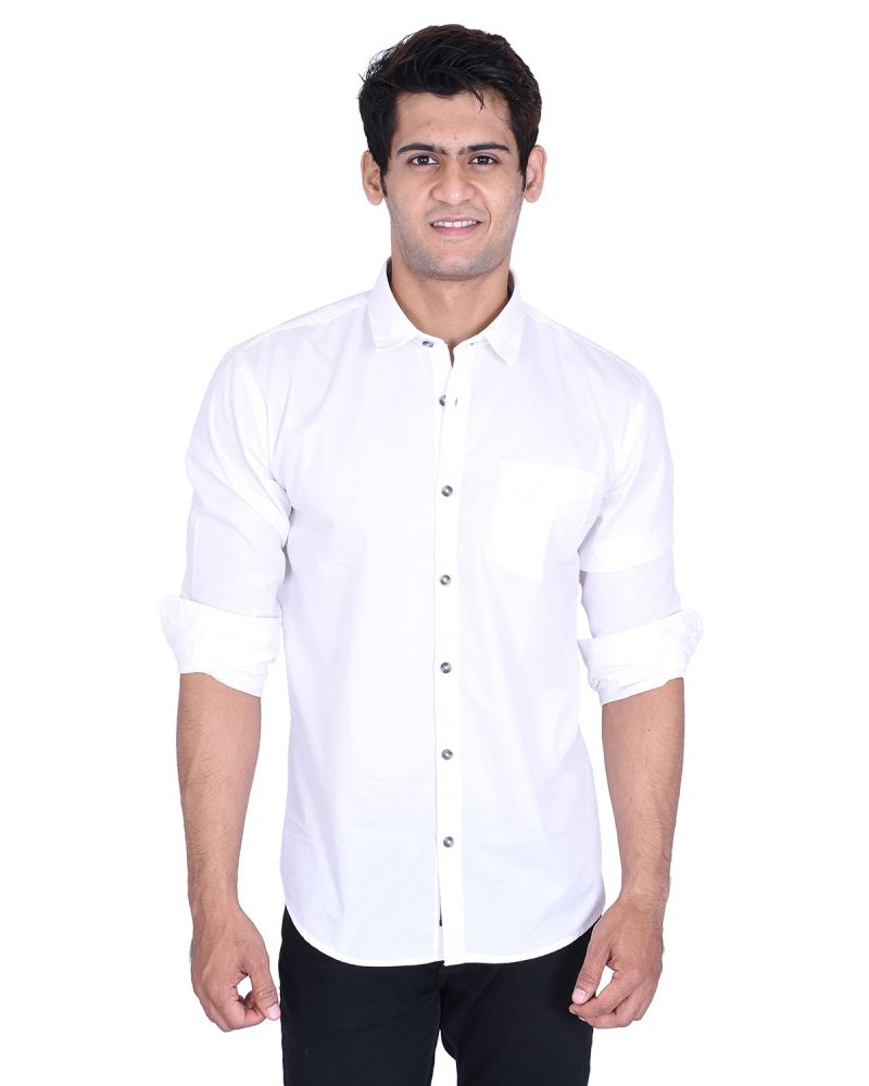 Buy Roller Fashions White Colour Solid Long Sleeves Slim Fit Mens Casual Shirt online