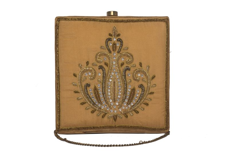 Buy Rysha Beige Color Pure Zardozi Embroidered Silk Clutch For Women online