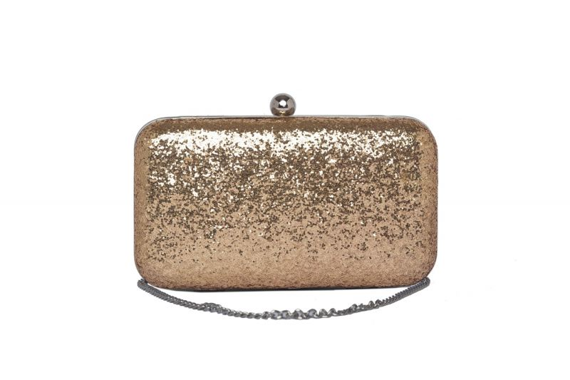 Buy Rysha Gold Color Solid Pu Clutch For Women online