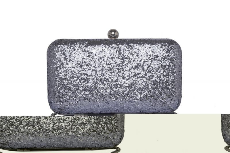 Buy Rysha Grey Color Solid Pu Clutch For Women online
