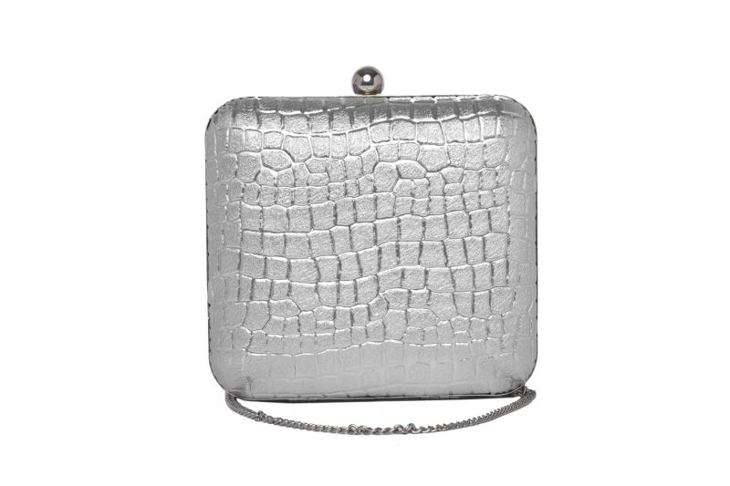 Buy Rysha Silver Color Snake Textured Pu Clutch For Women online
