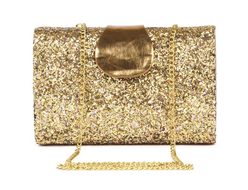 Buy Rysha Gold Pu Solid Box Clutch For Womens - Ry1003 online