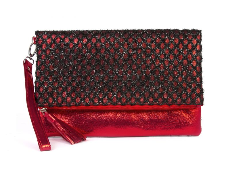 Buy Rysha Black & Red Net & Pu Checkered Pattern Clutch For Womens - Ry1019 online