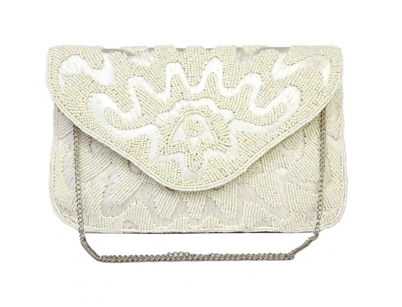 Buy Rysha White Synthetic Fabric Sequins Work Clutch For Womens - Ry1021 online