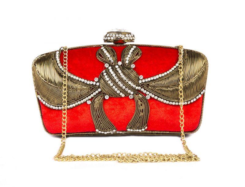Buy Rysha Red Metal & Velvet Self Design Clutch For Womens online
