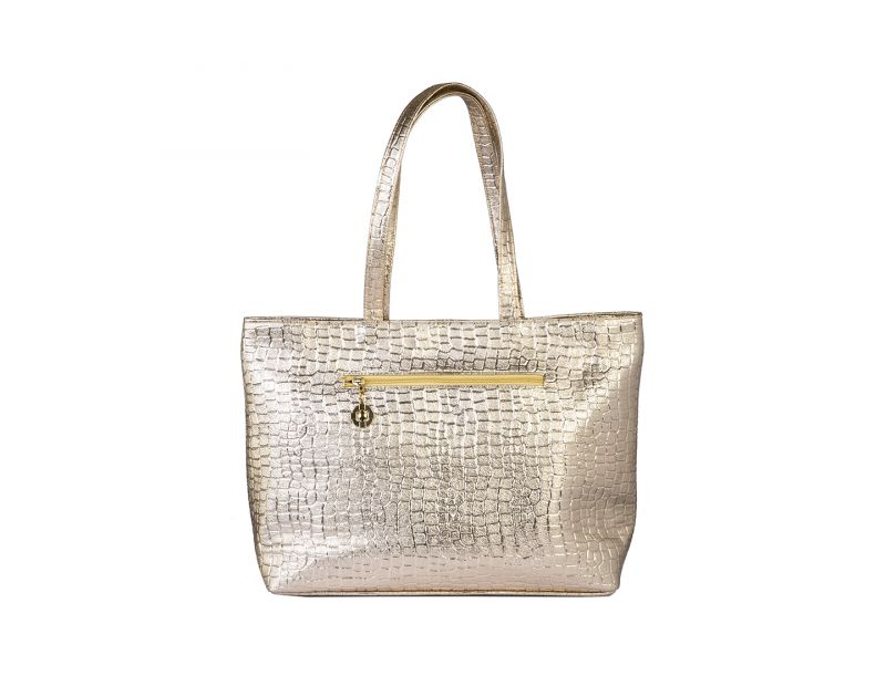Buy Rysha Gold Pu Self Design Tote Bag For Womens online
