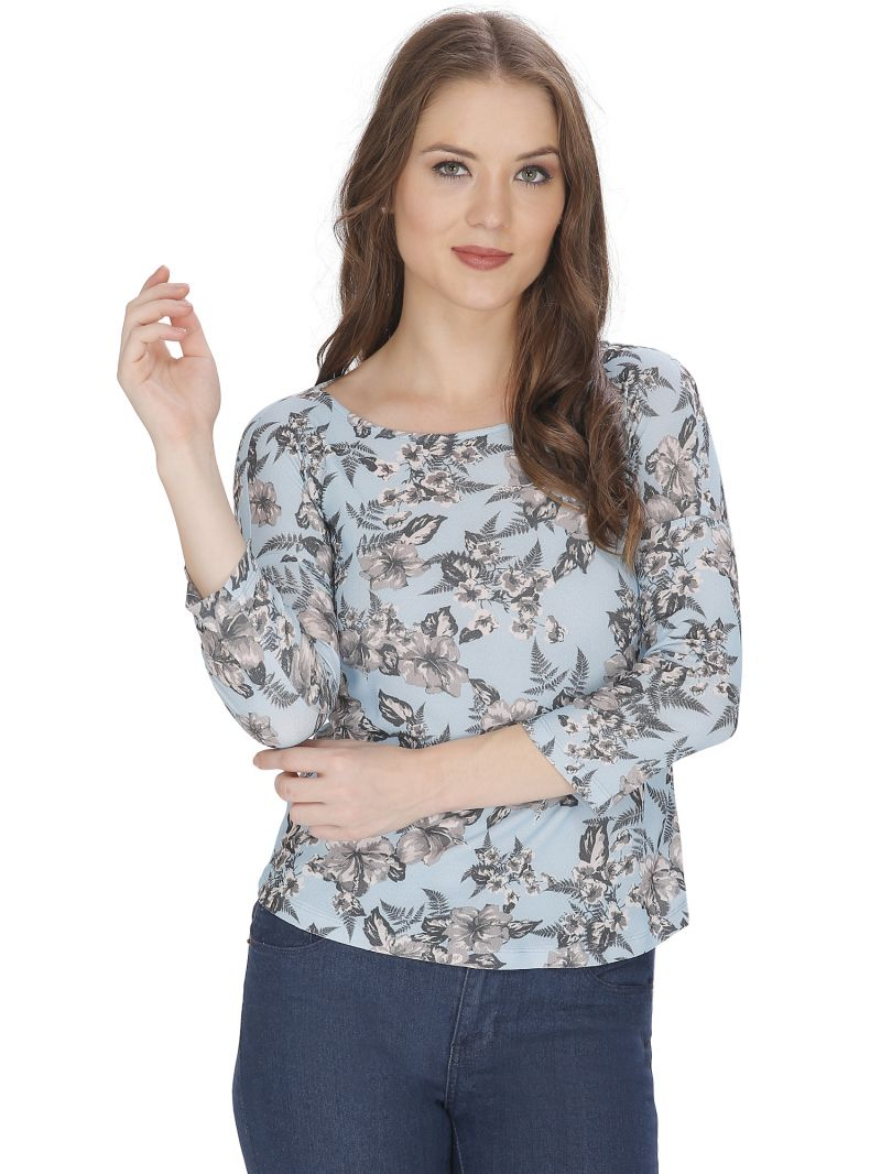 Buy Bella Figura Couture Blue Printed Top For Women online