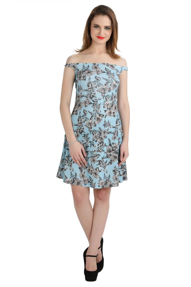 Buy Bella Figura Couture Blue Moss Crepe Printed Dress For Women-bf140ab online