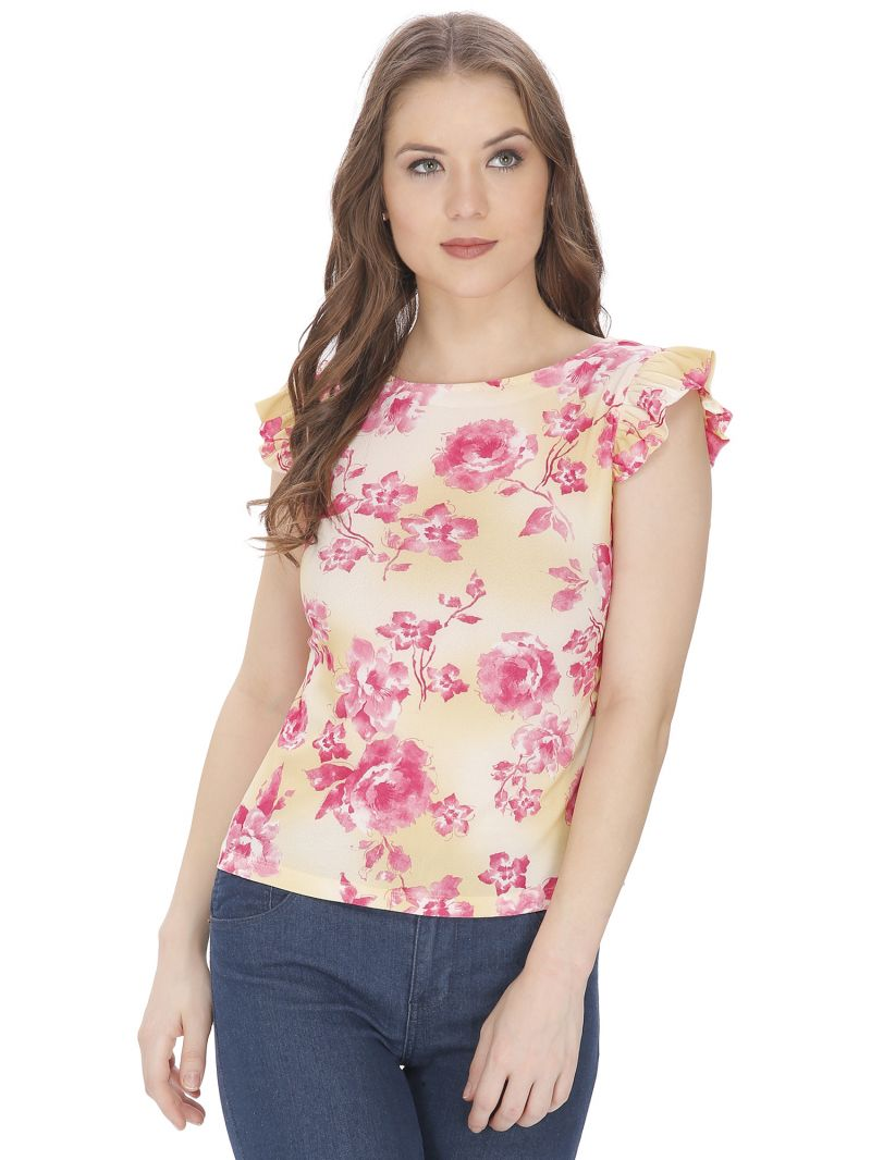 Buy Bella Figura Couture Yellow Printed Top For Women - Bf141aylw online