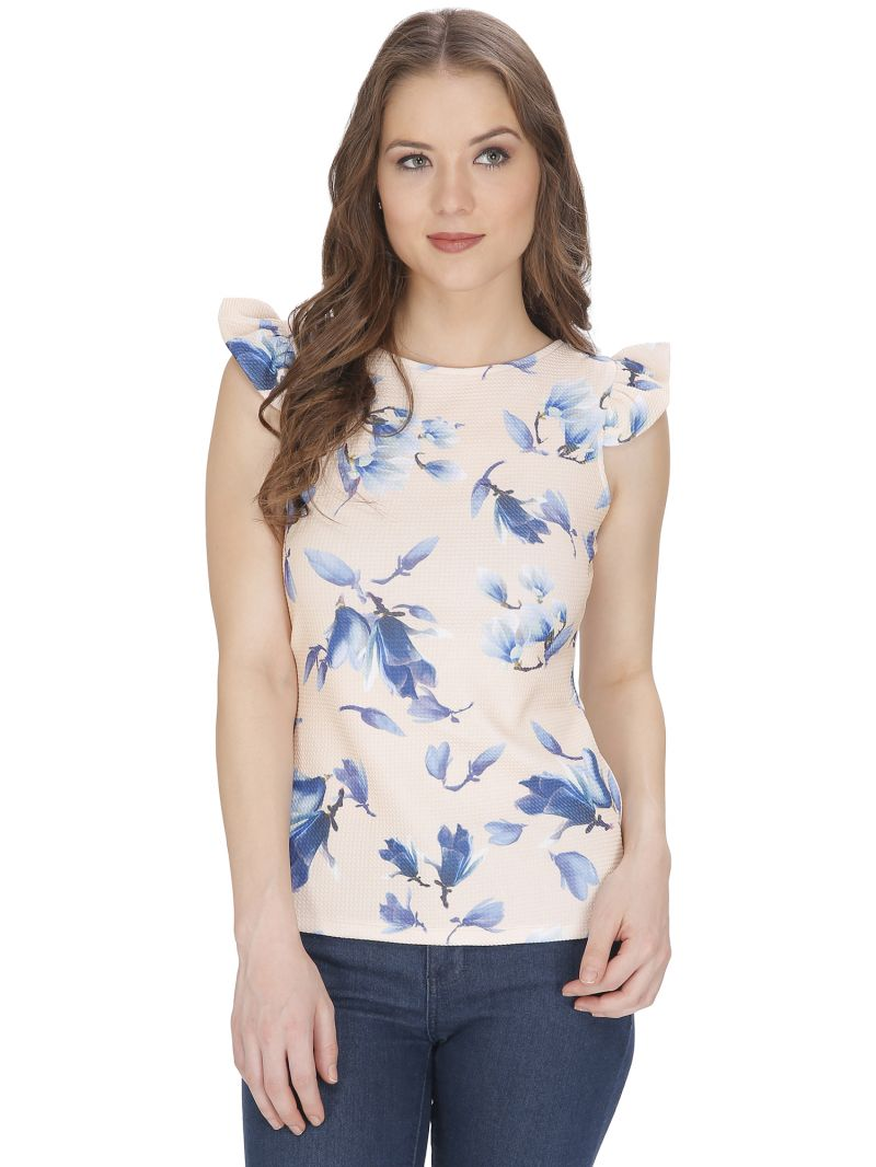 Buy Bella Figura Couture Cream Printed Top For Women online