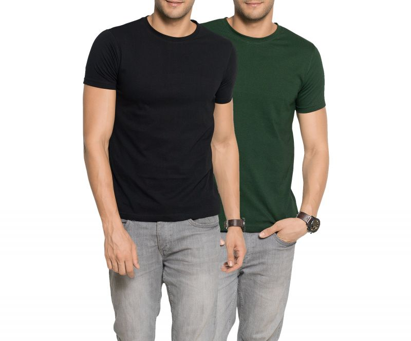 Buy Zorchee Men'S Round Neck Half Sleeve Cotton Plain T-Shirts Pack Of 2 - Black & Green online