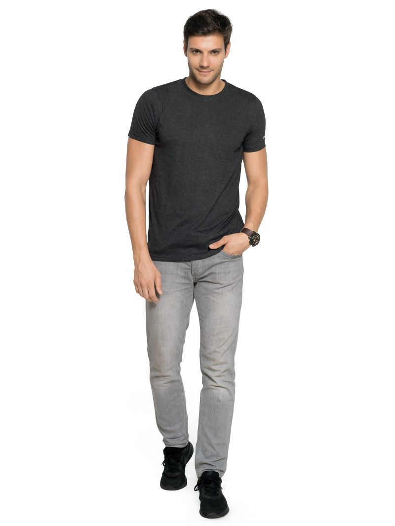Buy Zorchee Men's Round Neck Half Sleeve Poly-cotton T-shirts - Charcoal Melange (zo-02pl) online