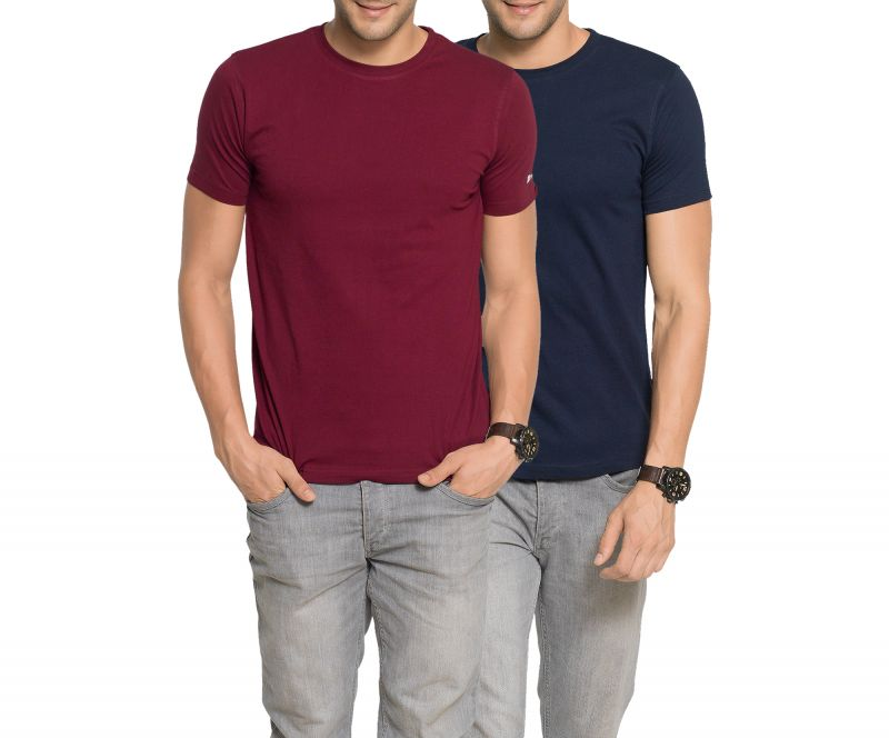 Buy Zorchee Mens Round Neck Cotton Plain T-Shirts - Pack of 2 online