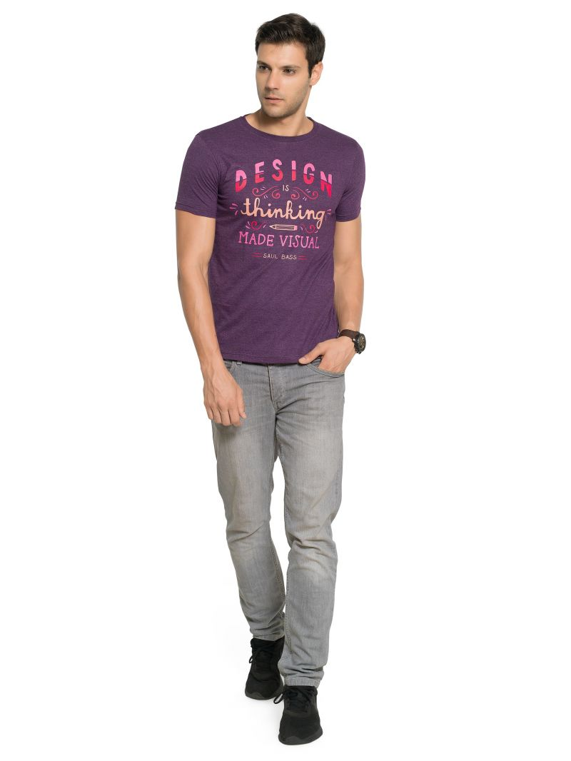 Buy Zorchee Men's Round Neck Half Sleeve Poly-cotton T-shirts - Grep Royal Melange (zo4) online