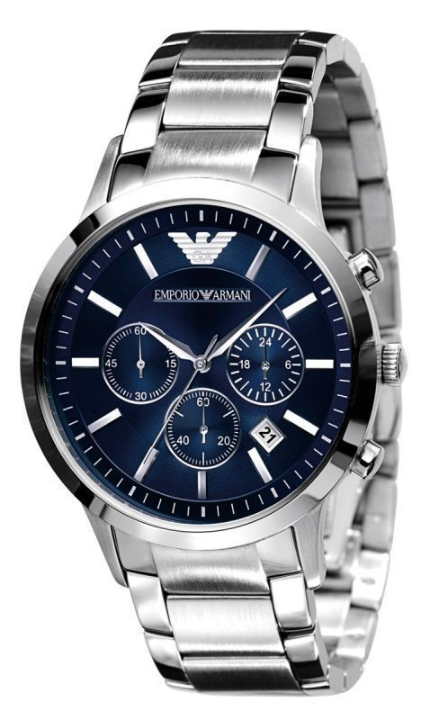 Buy Imported Emporio Armani Stainless Steel Blue Dial Mens Chrono Watch online
