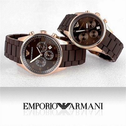 Buy Imported Emporio Armani Couple, Brown Sportivo Chrono Watches online