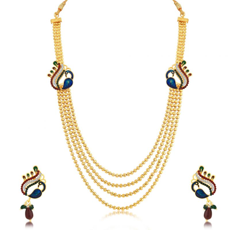 Buy Sukkhi Attractive Peacock 4 String Gold Plated Long Haram Necklace Set For Women online