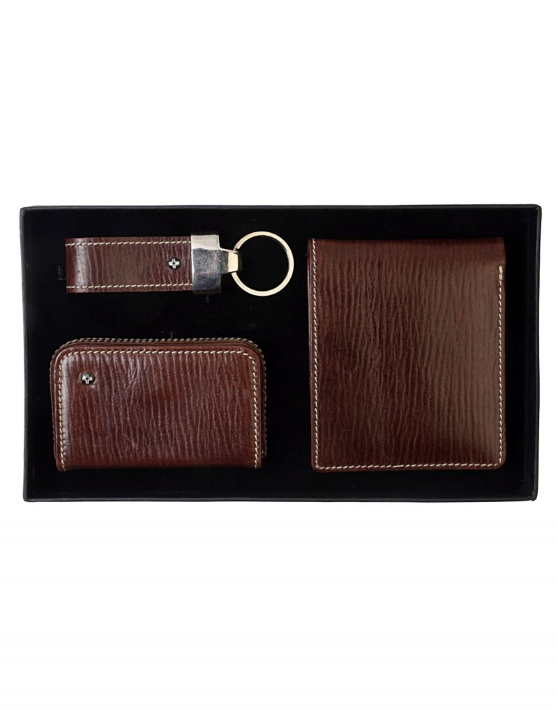 Buy Jl Collections Brown Men's Leather Gift Sets (pack Of 3) online