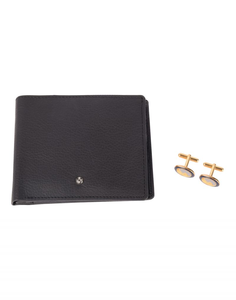 Buy Jl Collections 4 Card Slots Black Men's Leather Wallet With Brass Metal Cufflinks Gift Sets (pack Of 3) online