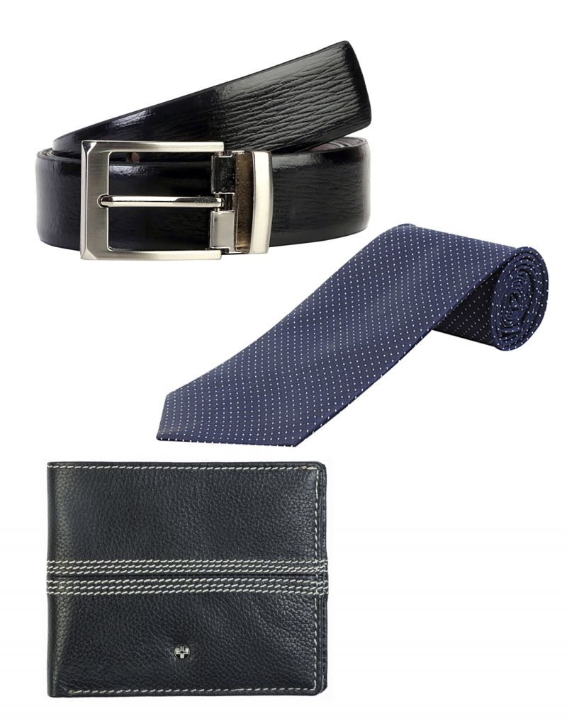 Buy Jl Collections 6 Card Slots Navy Blue Men's Leather Wallet With Tie & Belt (pack Of 3) online