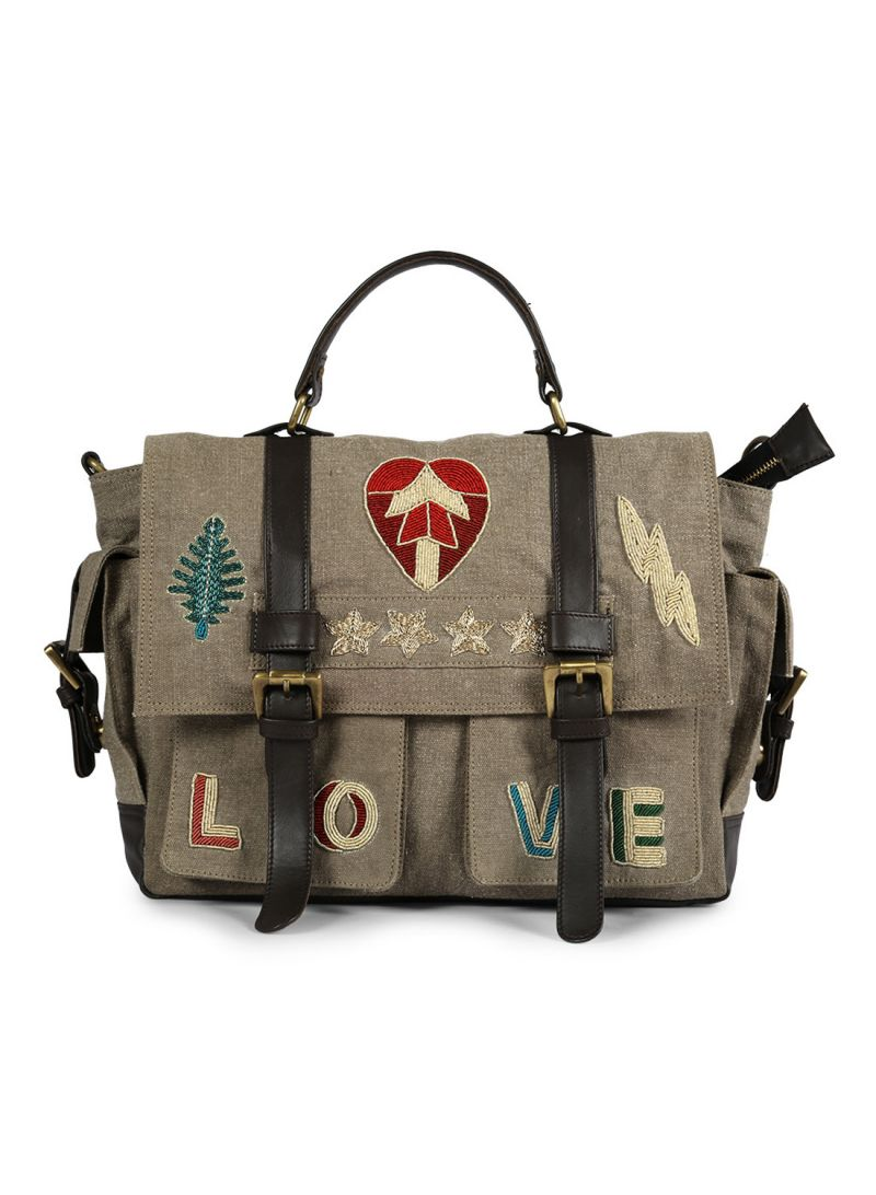 Buy Jl Collections Canvas And Leather Crossbody Travel Messenger Bag For Womens online