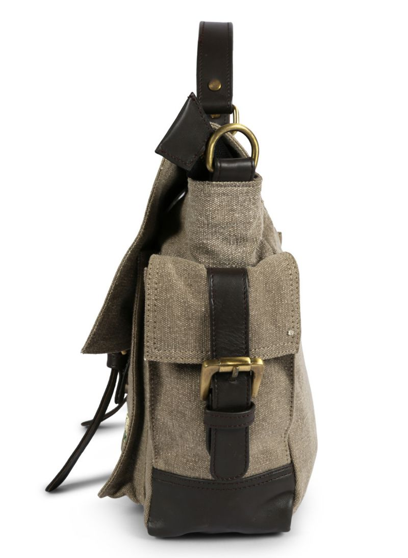 917132677bd Jl Collections Canvas And Leather Crossbody Travel Messenger Bag For Womens