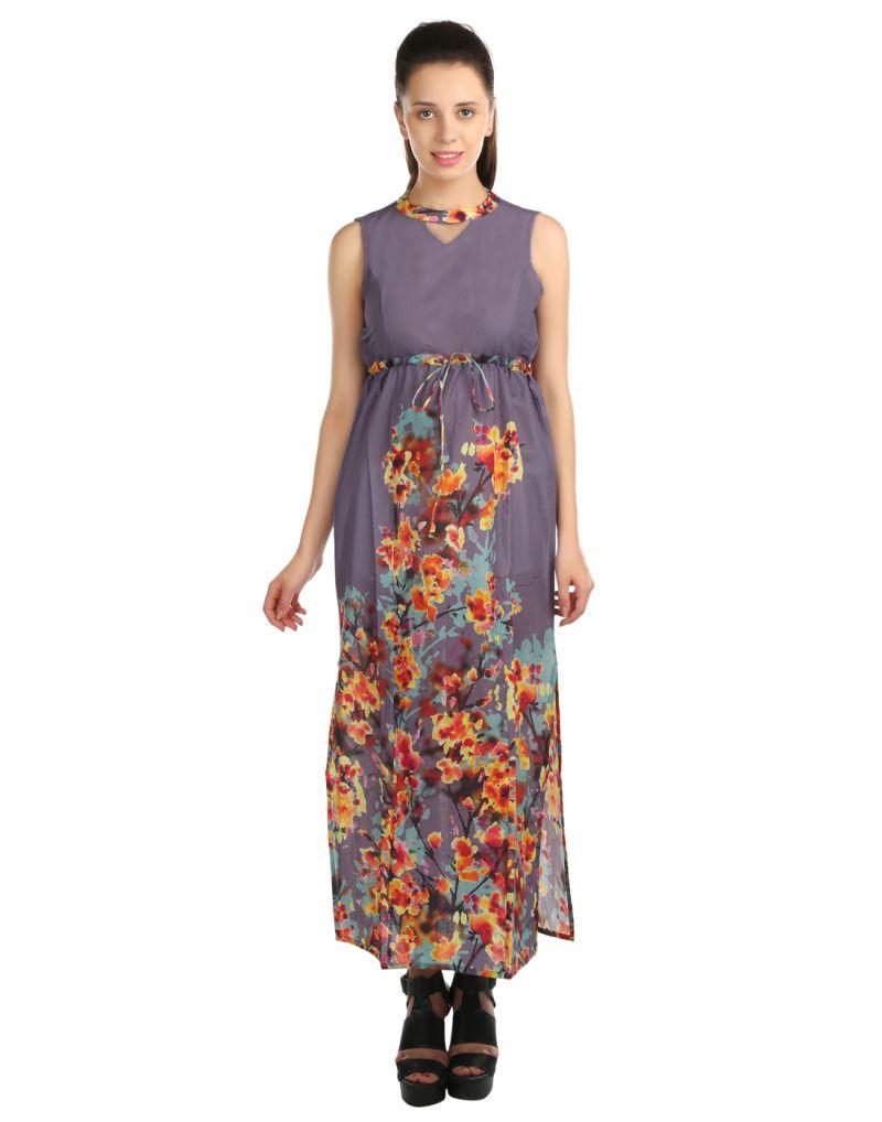 6206d6c4aa48 Buy Opus Party A-Line 100% Cotton Purple Women S Dress Online
