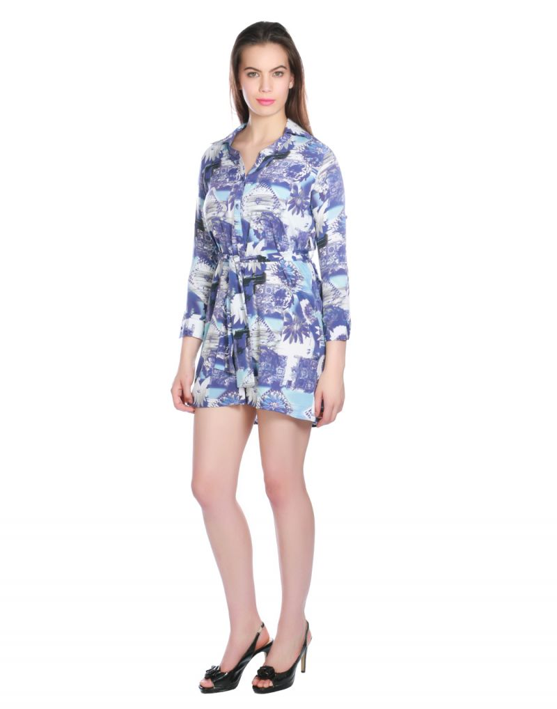 Buy Opus Blue Graphic Print Crepe Fusion Wear Women'S Dress online