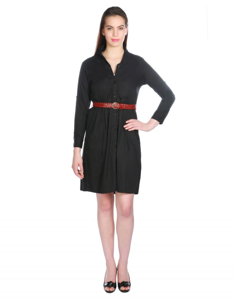 Buy Opus Black Solid Cotton Fusion Wear Women'S Dress online