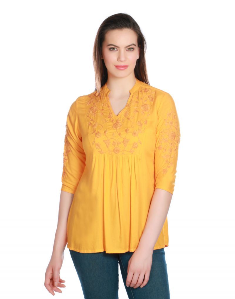 Buy Opus Yellow Modal Casual Embroidered Fusion Wear Women'S Kurti online