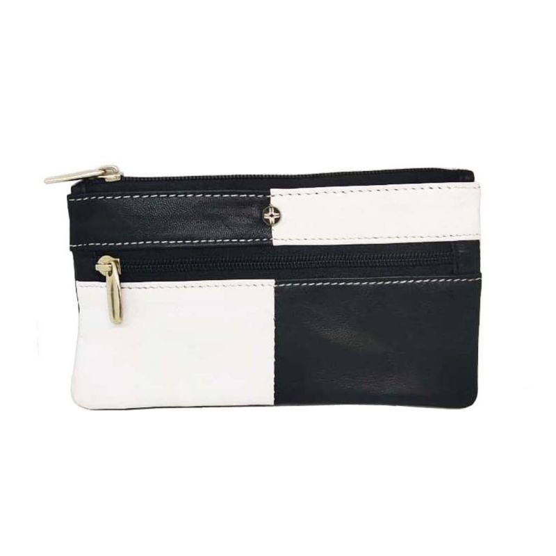 Buy JL Collections Black and White Genuine Leather Rectangle Shape Coin and Key Pouch online
