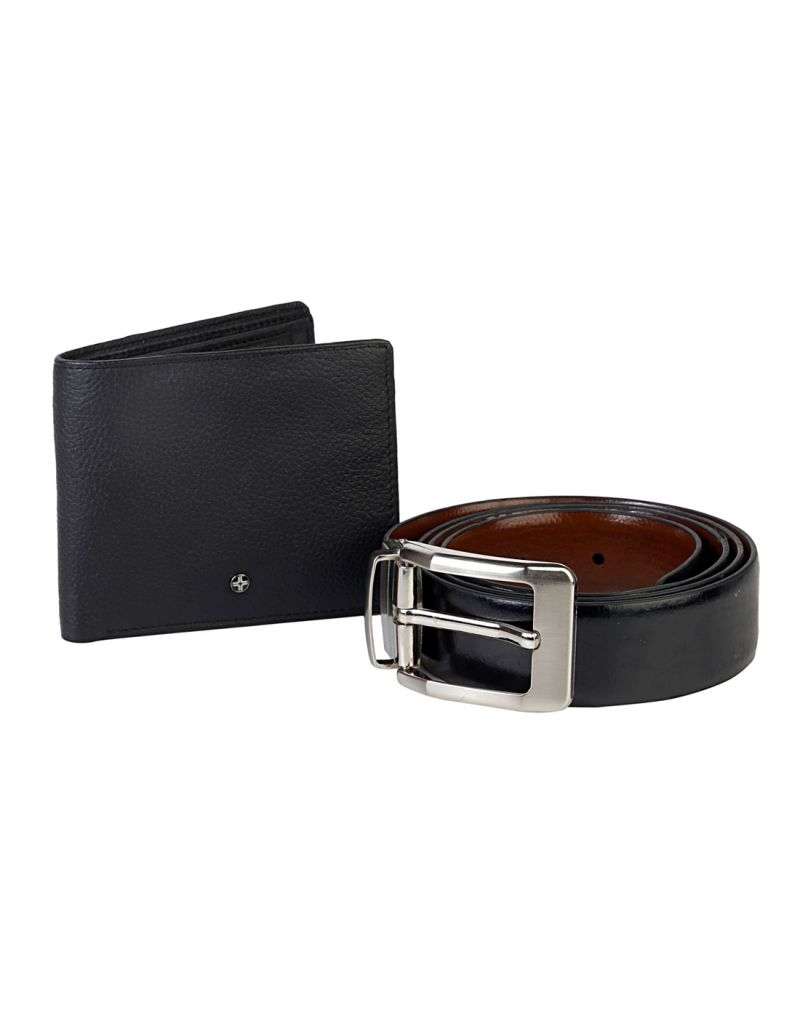 Buy Jl Collections 4 Card Slots Black Men's Leather Wallet And Black Free Size Belt (pack Of 2) online