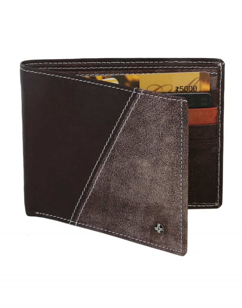 Buy Jl Collections 8 Card Slots Men's Dark Brown Leather Wallet online