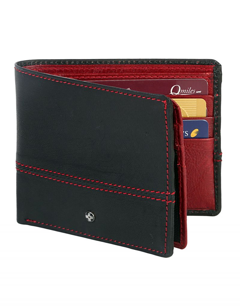 Buy Jl Collections 12 Card Slots Blue And Red Men's Bifold Wallet online