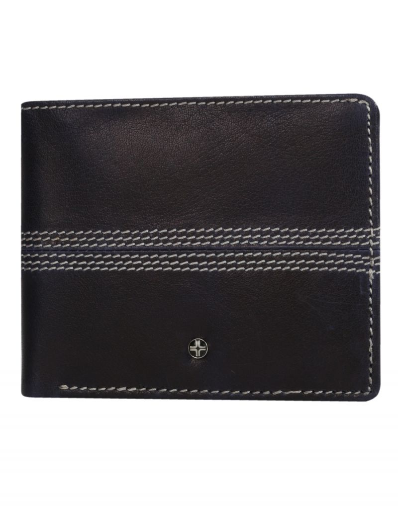 Buy Jl Collections 6 Card Slots Men's Black And Brown Leather Wallet online
