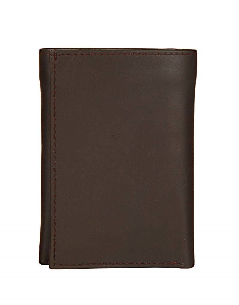 Buy Jl Collections Mens Brown Genuine Leather Three Fold Wallet (9 Card Slots) online