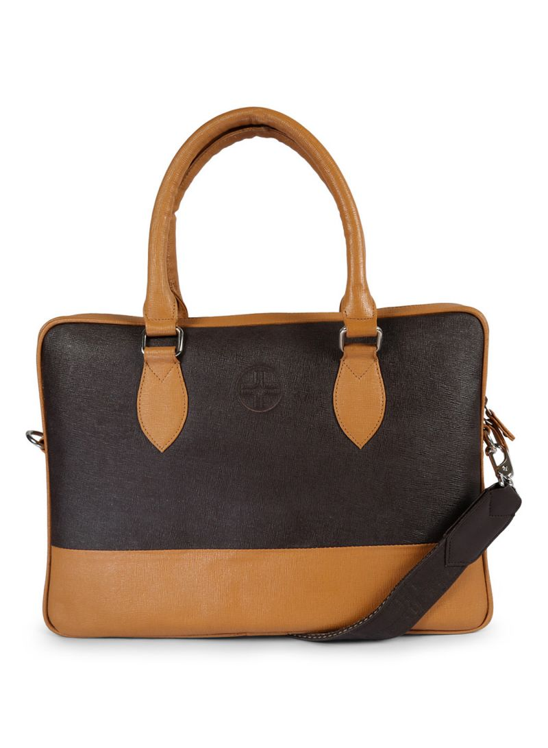 Buy Jl Collections Beige And Brown Leather Executive Messenger Bag For Unisex online