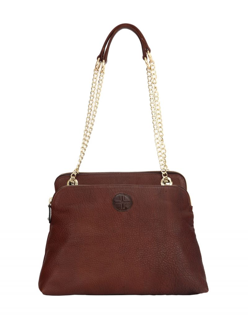 Buy JL Collections Womens Leather Brown Shoulder Bag online