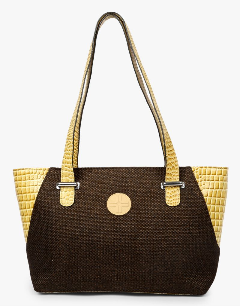 Buy JL Collections Women's Leather & Jute Beige and Black Shoulder Bag online