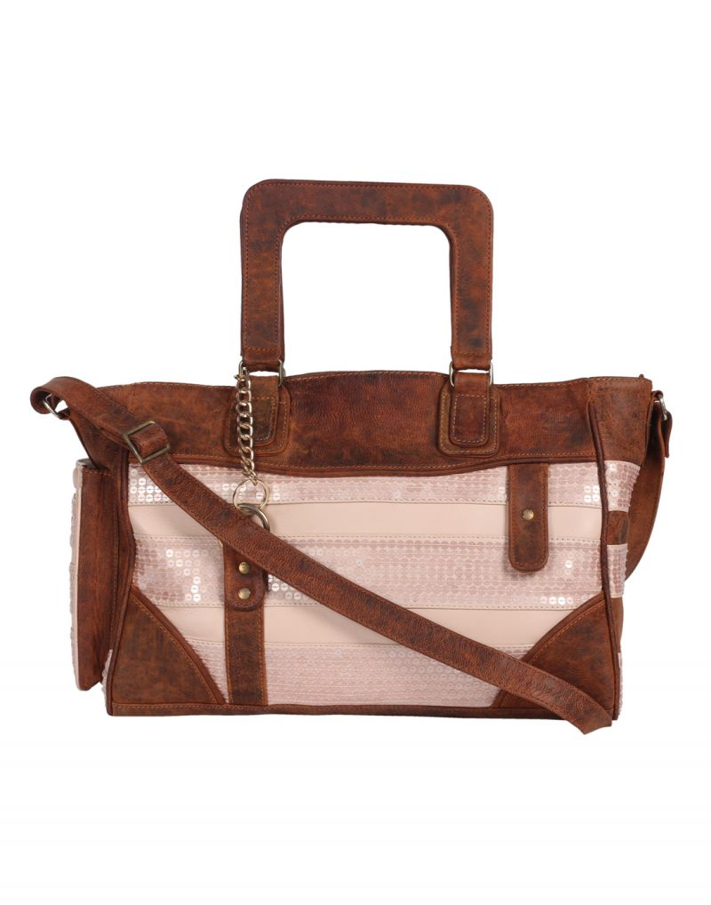 Buy Jl Collections Women's Leather Brown & Peach Shoulder Bag online