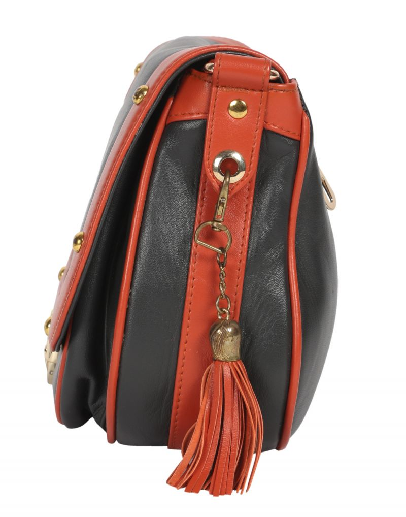 e0953eb3d89b Buy Jl Collections Women s Leather Grey   Orange Sling Bag Online ...